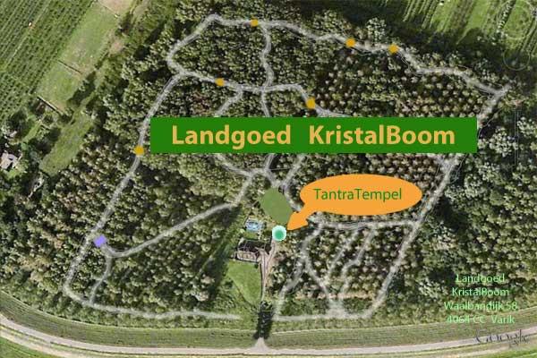 Plattegrond van ons landgoed KristalBoom met de TantraTempel in het landhuis midden in het bos en natuur
