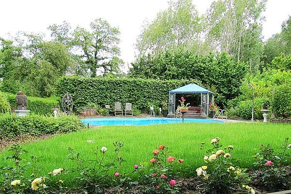 TantraTempel tuin met zwembad en overdekte jacuzzi temidden van ons bos