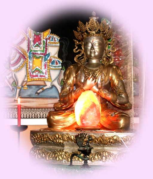 TantraTempel groot Buddha beeld in de Groepsruimte met mooie inrichting dicht bij bos en natuur
