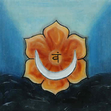 Swadhistana Hara 2de Chakra Maan Zilver Zwart Vam Wang Water