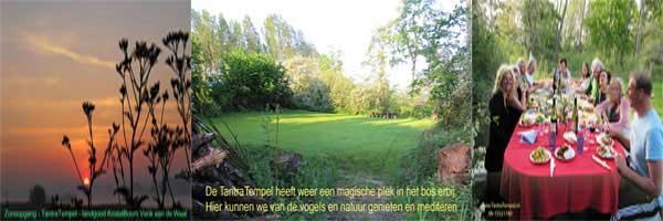 TantraTempel Groepsfoto collage aan de grote tafel in het bos en natuur