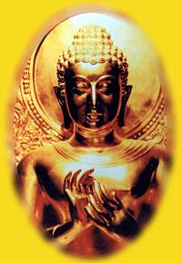 Namaste verlichte Buddha ovaal