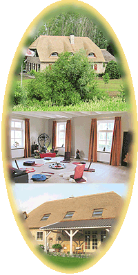TantraTempel foto collage centrum, groepsruimte en landgoed KristalBoom